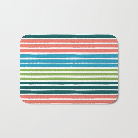 Minimal striped summer tropical pattern blue green happy pattern for beach Bath Mat