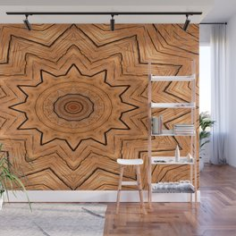 Wooden Wheel of the year of the ring kaleidoscope Wall Mural