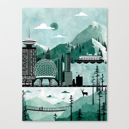 Vancouver Travel Poster Illustration Canvas Print