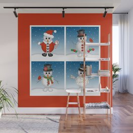 Cute Snowmen with Ornaments, Candy Cane and Strand of Lights Wall Mural