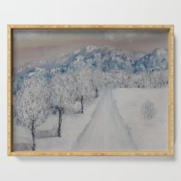 Winter Path, Original Contemporary Oil Painting, Modern Art, Fine Art by Lu aka Luna Smith Serving Tray
