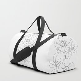 Floral one line drawing - Rose Duffle Bag