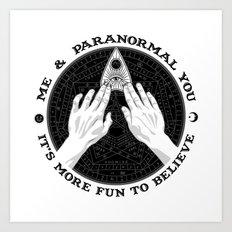 Me & Paranormal You - James Roper Design - Ouija B&W (black lettering) Art Print