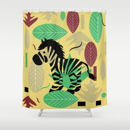 Zebra with leaves and dots Shower Curtain