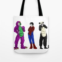 scary Tote Bags featuring Scary by Rabiscos e Tal