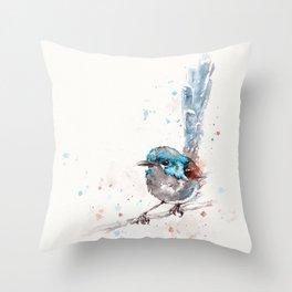 Mischief In The Making (Variegated Fairy Wren) Throw Pillow