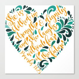 Proverbs 31:25 Canvas Print