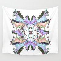 unicorns Wall Tapestries featuring Unicorns by abbykaye