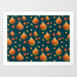 Lady Pumpkin for Halloween Pattern Art Print
