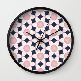 Sepia Pink Flowers on Black Wall Clock