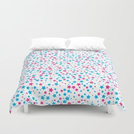 Seamless background with bright blue and magenta stars. Duvet Cover