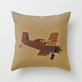 Crop Duster Flying In A Storm Throw Pillow