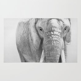 Elephant Photography | Wildlife Art | African | Nature | Animal Photography | Black and White Rug