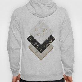 Scandinavian Geometric | Black Gold White Marble Hoody