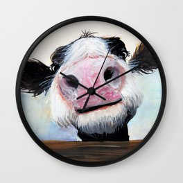 Nosey Cow ' HEY! HOW'S IT GOIN'? ' by Shirley MacArthur Wall Clock