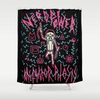 8bit Shower Curtains featuring NERD POWER METAMORPHOSIS / 8BIT by UNDEAD MISTER / MRCLV