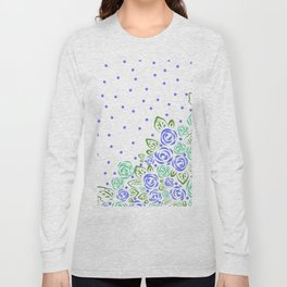 Garden Rose and Dots - Blue Mint Long Sleeve T-shirt