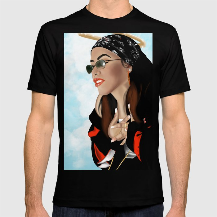 Aaliyah Graphic T-shirt by Ous Art - Black - LARGE - Mens Fitted Tee