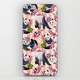 Watercolor pattern with pandas and flowers. iPhone Skin