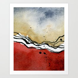 Mini Abstract - Red and Gold Art Print