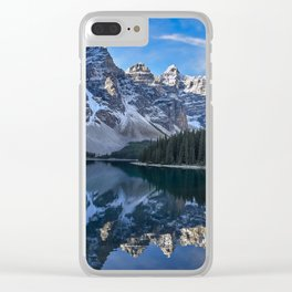 Reflections in the morning at lake Moraine Clear iPhone Case