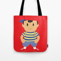 earthbound Tote Bags featuring Ness - Earthbound - Super Smash Brothers - Minimalist by Adrian Mentus