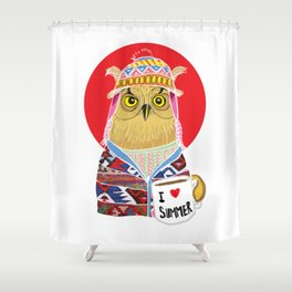 Summer Owl Shower Curtain