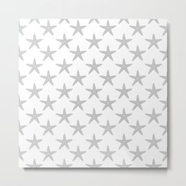 Starfishes (Gray & White Pattern) Metal Print