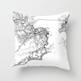 Rio de Janeiro Map White Throw Pillow