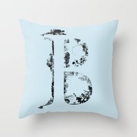 font Throw Pillows featuring B FONT by riz lau