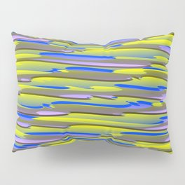 Horizontal vivid curved stripes with imitation of the bark of a yellow tree trunk. Pillow Sham