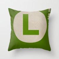 luigi Throw Pillows featuring Luigi by Jynxit