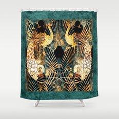 Art Deco Malachite and Gold Peacocks Shower Curtain