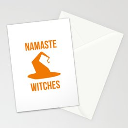 Namaste Witches Halloween Fly On A Broom Stationery Cards