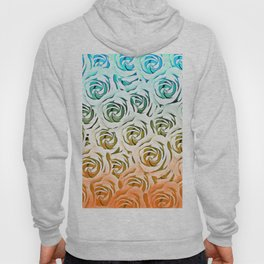 blooming rose pattern texture abstract background in blue and pink Hoody