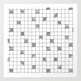 Abstract background with black and white crossword grid Art Print