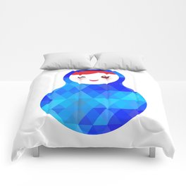 wink Russian doll matryoshka with bright rhombus on white background, blue colors Comforters