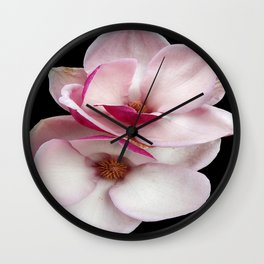 tulip magnolia twins (black bg square) Wall Clock