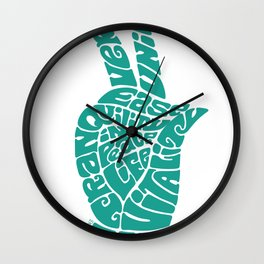 Life Force Hand in Turquoise Wall Clock