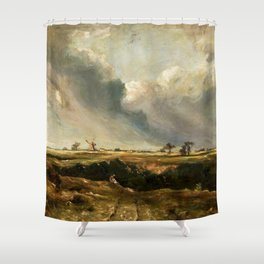 John Constable - Windmills in landscape Shower Curtain
