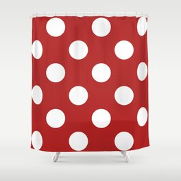 Large Polka Dots - White on Firebrick Red Shower Curtain
