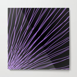 Rays of violet light with intersecting waves on black. Metal Print