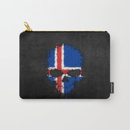 Flag of Iceland on a Chaotic Splatter Skull Carry-All Pouch