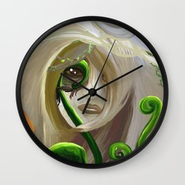 Mushroom Fairy with Plants Wall Clock