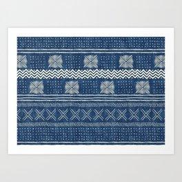 Mud Cloth Geometric Stripe Navy Art Print