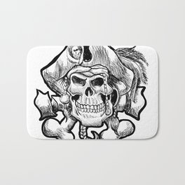 pirate skull in a bandana and a hat with feathers. Bath Mat