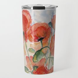 Burnt Orange Salmon Field of Poppies watercolour by CheyAnne Sexton Travel Mug