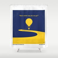 wiz khalifa Shower Curtains featuring No177 My Wizard minimal movie poster OZ by Chungkong