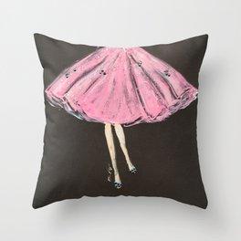 Jolie Pink Fashion Illustration Throw Pillow
