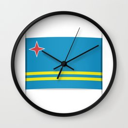 Flag of Aruba.  The slit in the paper with shadows.  Wall Clock